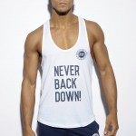 ES Collection Koszulka na siłownię FIT Never Back Down TS169 C-01 biała