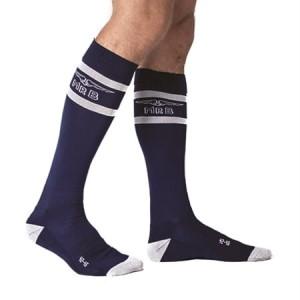 a5185e3ee08e0 Mister B Urban Football Socks z kieszenią granatowo-białe